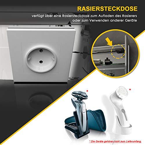Elegant LED Spiegelschrank mit Steckdose Infrarot Sensorschalter Hochglanz Badezimmerspiegel - Badschrank mit Beleuchtung Spiegelschrank 3