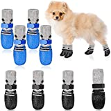 Weewooday 2 Sets Dog Cat Boots Shoes Socks Waterproof Dog Shoes Rain Snow Dog Booties Anti-Slip Dog Sock Shoes with Adjustable Drawstring for Small Puppy (S, Black, Blue)