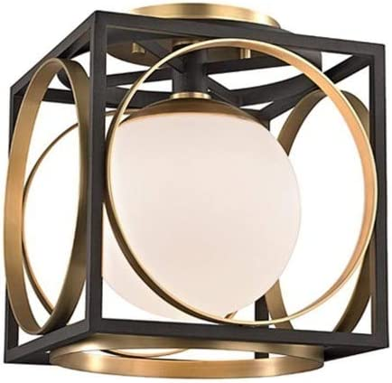discount Hudson Valley outlet sale Lighting 5800-AGB Wadsworth - One Light Semi-Flush Mount, popular Aged Brass Finish with White Opal Glass online sale