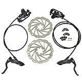 JUIN TECH DB1 MTB E-Bike Hydraulic Dual-Piston Disc Brake Set(F+R) w/160mm Rotor, Black, JT2263