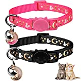 2PCS Breakaway Cat Collars with Bell Moons Stars Cute Kitty Adjustable Safe Kitten Collars with Pendant Glow in The Dark(Black&Pink)