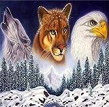 N\A Pintar por Numeros Niños con Cepillos DIY Pintura Al Óleo Kit | para Manualidades - Leopardo, Águila, Lobo 40X50Cm