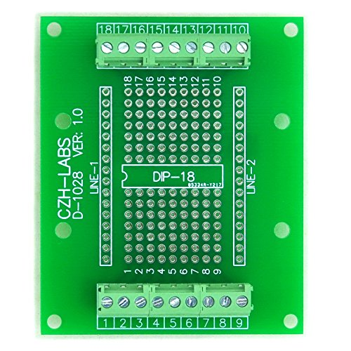 Electronics-Salon DIP-18 Component to Screw Terminal Block Adapter Board, DIP18 PCB.