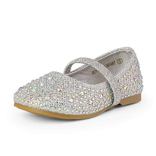 DREAM PAIRS MUY-Shine-INF Mary Jane Girls Rhinestone Studded Slip On Ballet Flats Toddler New Silver Size 5