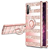 VEGO Case Compatible with Galaxy Note 10 Plus 5G, Glitter Case with Ring Holder Kickstand for Women Girls Bling Diamond Rhinestone Sparkly Bumper Fashion Cute Protective Fancy Case(Stripe Rosegold)