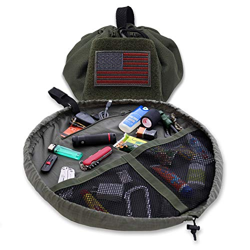 Lay-n-Go Tactical Bag, Patented Drawstring Accessory Bag for Military, First Responder, Survival, and Outdoor Applications, Quick Access to Your Things, Travel Toiletry Bag, Patch Ready, Washable - Green