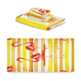 TropicalLife iRoad - Juego de toallas de algodón (3 piezas, diseño de rayas de flamenco, muy absorbentes, toallas de mano, juego de toallas de baño, cocina