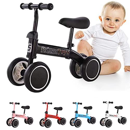 Bicicleta De Equilibrio Para Niños, Segura Y Sin Vuelcos Scooter De Acero Con Alto Contenido De Carbono Banda De Rodadura Ensanchada Bicicleta De Equilibrio De Cuatro Ruedas Para Niños Sin Pedales