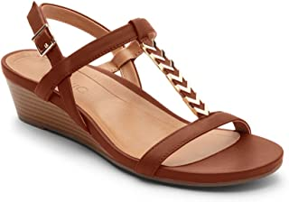 Women's Port Cali T-Strap Sandal - Ladies Demi Wedge Sandals with Concealed Orthotic Arch Support
