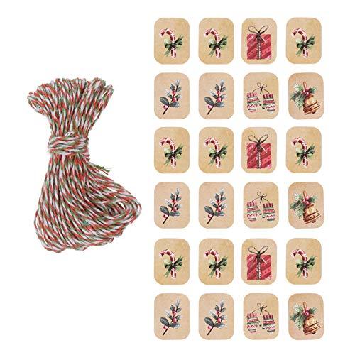 STOBOK Weihnachtsgeschenkanhänger Kraftpapier Hängendes Etikett mit Schnur für Weihnachtsbaumverzierung DIY Weihnachtsfeiertagsgeschenkverpackungsdekorationen 250Pcs