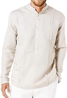 Fueri Mens Casual Shirt Long Sleeve Henley Shirt Regular Fit Lightweight Banded Collar Plain Vintage Grandad Shirts with P...