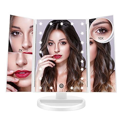 FUNTOUCH Espejo Maquillaje con Luz, Espejo Tríptica Maquillaje con Aumento 10X, 3X, 2X,1X, Espejo Maquillaje con Luz 21 Led, Fuente de Alimentación Dual, Espejo para Maquillarse con Rotación de 180 °