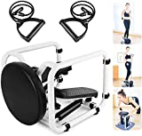 WHKL Stair Stepper, Portable Fitness Mini Step Machine with Resistance Bands and LCD Monitor, Exercise Home Workout Equipment for Full Body Workout, Exercise - 【UK in Stock】