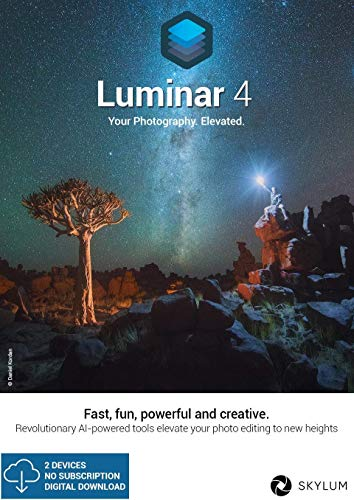 Luminar 4 licence d'utilisation pour 2 appareils Windows / MAC langue française, compédition professionnelle des images, technologie de remplacement automatique du ciel