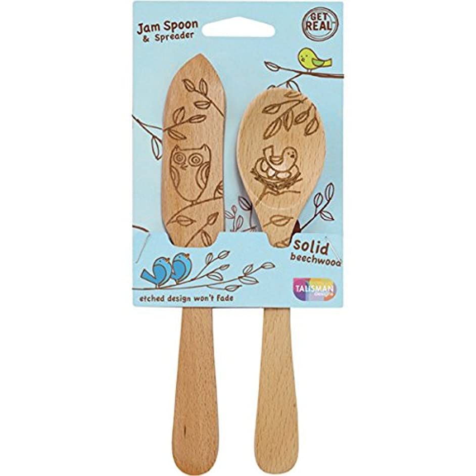Talisman Designs Jam Spoon and Spreader Set, Solid Beechwood, Laser Etched Nature Collection