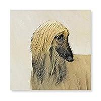 INOV アフガン·ハウン絵画ドさん-かわいい 犬アート フレーム キャンバス プリント ウォール アート ホーム 装飾 カラフル 絵画 40x40cm