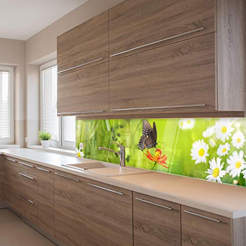 wandmotiv24 Küchenrückwand Schmetterling Marienkäfer Grün Gänseblüm 210 x 50cm (B x H) - Acrylglas 4mm Nischenrückwand Spritzschutz Fliesenspiegel-Ersatz M1080