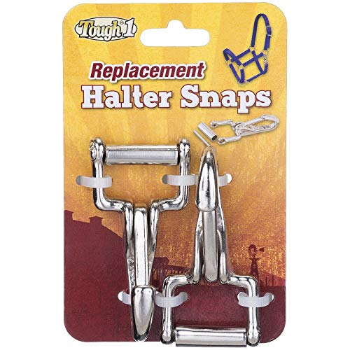 JTI Tough-1 Set (2) Nickel Plated Halter Replacement Snap Hook End Unscrews to Replace Broken Throat Snaps on Halters
