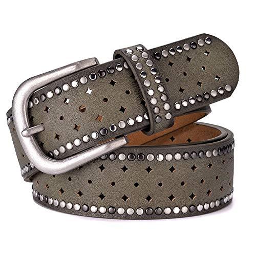 Cinturón de diseño original para mujer, estilo vintage, con remache, todo a juego, cinturón ancho para mujer (longitud del cinturón: 90 cm, color: verde)