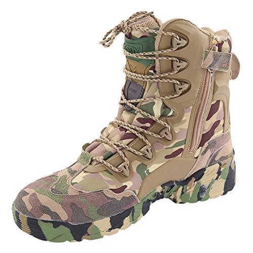 Wygwlg Hommes Militaire Chaussures Hautes Camo Tactique Randonnée Bottes Combat Tout Terrain Bottes en Plein Air Garder Au Chaud Police Force Chaussures De Travail,Camo -40