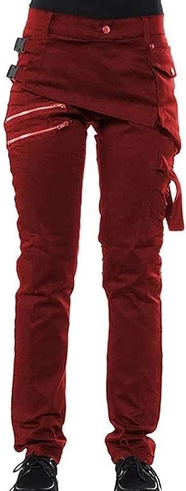 Women Gothic Genuine Free Shipping Pants Zipper Pockets Trousers Max 78% OFF Rivet Rock Steampunk