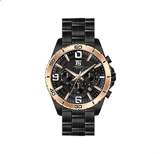 T5 H3521G-D Gold Bezel Stainless Steel Round Analog Watch for Men - Black