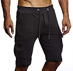 Leif Nelson Herren Männer Jungen Sommer Kurze Biker Jogger 3/4 Hose Shorts Jeanshose Chinos Cargo Bermuda Basic 5-Pocket Sporthose Freizeithose Denim Slim Fit LN8205; Medium; Schwarz