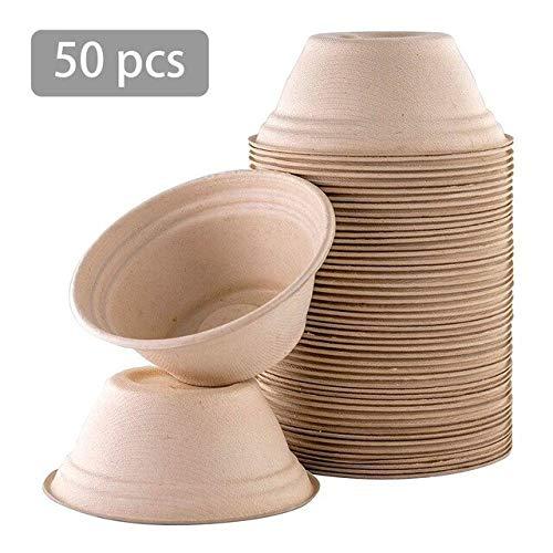 RAP 50 stuks 350 ml wegwerpkom biologisch afbreekbare lunchbowl voor ijs chili soep met deksel koelkast bewaardoos magnetron grijs