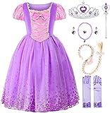 JerrisApparel Niña Princesa Disfraz Flor Navidad Cosplay Fiesta Vestido (8 años, Morado con Accesorios)