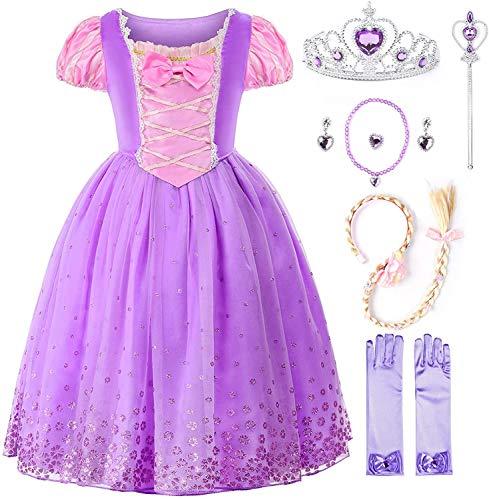 JerrisApparel Niña Princesa Disfraz Flor Navidad Cosplay Fiesta Vestido (6 años, Morado con Accesorios)