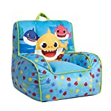 Idea Nuova Baby Shark Kids Mink Plush Bean Bag Chair with Piping & Top Carry Handle