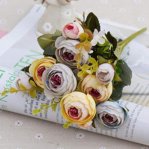 OGM weiße Seiden-Tee-Rosen künstliche Blumen Kleiner Blumenstrauß für Dekoration Blumen Rosen Bouquet gelb