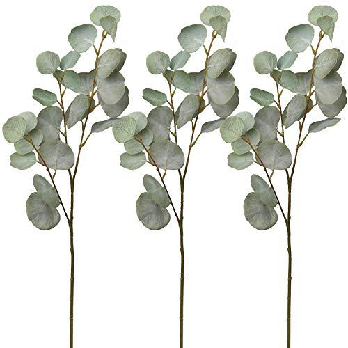 3 piezas de tallos de hojas artificiales de eucalipto ramas de plata dólar eucalipto Graland hojas en spray ramo de boda centro de mesa decoración del hogar (verde)