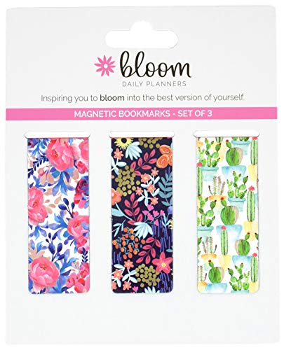 "bloom daily planners 3-Pack Magnetic Bookmarks - Mini Snap-in Page Marker Clips for Planners, Books, Journals (2.5"" x 1"") - Botanical"