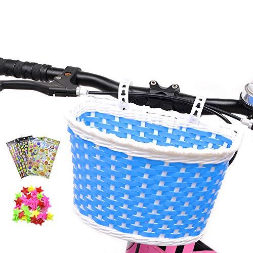 ANZOME Kinder Fahrradkorb, fahrradkorb vorne Kinder mit 36 Stück Speichen Clip Sterne, 3 Stück Alphabet Blume Tier Aufklebern für DIY lenkerkorb mädchen Geschenk Set – Multicolor