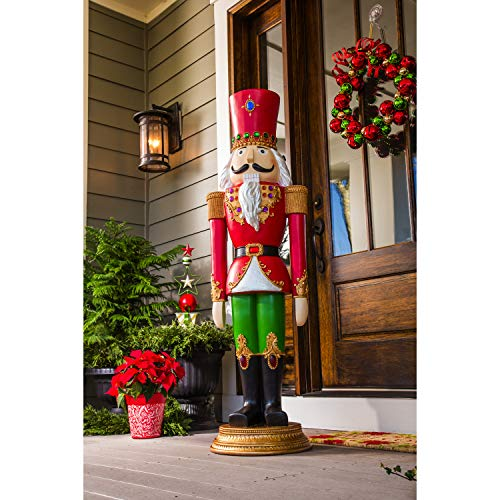 Evergreen Garden Beautiful Decorative Seasonal Regal Nutcracker Statement Garden Statue - 16 x 15 x 55 Inches Fade and Weather Resistant Indoor/Outdoor Decoration for Homes, Yards and Gardens