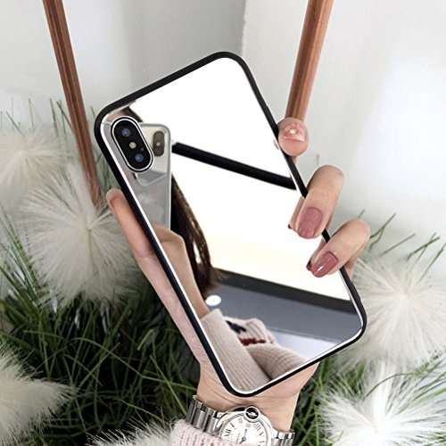 iPhone XR Case, Ebetterr Tempered Glass Hard Back Protective Cover,[Shock Absorption] Bright Reflection Luxury Mirror Makeup Case with Soft Silicone Bumper TPU Frame for Apple iPhone XR 6.1' (2018)