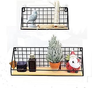 Sayiant Lot de 2 étagères flottantes à fixation murale rustique en métal pour chambre à coucher, plantes, photos, panier d...