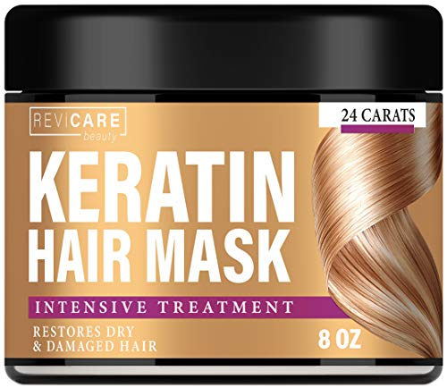 Keratin Hair Mask - Intensive Treatment - Effective Keratin Treatment with Coconut Oil, Retinol & Aloe Vera - Made in USA - Moisturizing Anti Frizz Hair Mask - Powerful Keratin Complex