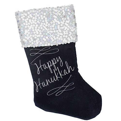 Northlight 19' Navy Blue and Silver Happy Hanukkah Sequin Cuff Embroidered Stocking