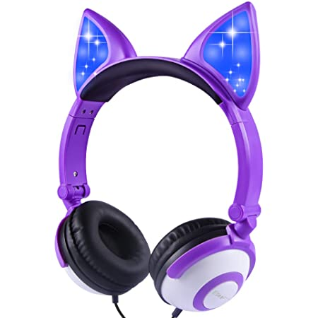 Kids Headphones Foldable with LED Glowing Cat Ear, On-Ear Headset Safe Wired Kids Headsets 85dB Volume Limited, Food Grade Silicone, 3.5mm Aux Jack, for Children/Teens/Boys/Girls/Smartphones/School