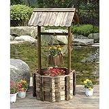 Kotulas Outdoor Wooden Wishing Well Garden Planter with Hanging Flower Bucket, 45 Inch
