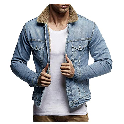 Save %35 Now! Men Denim Jacket Slim Fit Solid Padded Plush Winter Warm Vintage Button Down Western B...