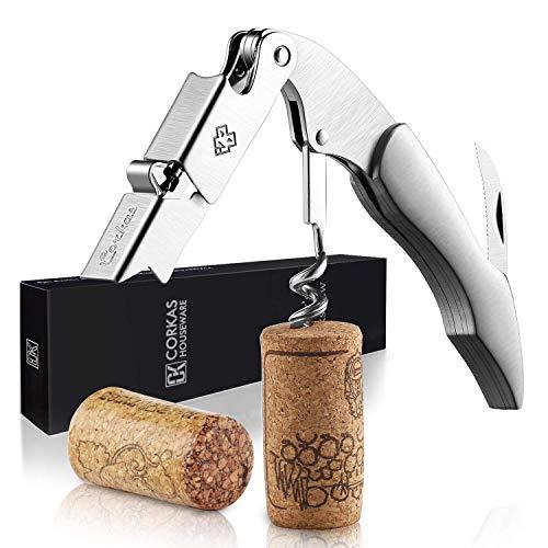 CORKAS Kellnermesser - Weinkorkenzieher und Flaschenöffner für Sommeliers, Kellner und Barkeeper mit Edelstahl