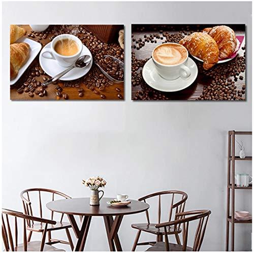 Pintura en lienzo Restaurante Taza de café Frijoles Cafetera Arte de la pared Imagen modular moderna para la decoración de la cocina Póster impreso en HD (sin marco)