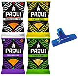 Paqui Tortilla Chips, Haunted Ghost Pepper, Jalapeno Tropicale, Fiery Chile Limon, and Zesty Salsa Verde, One 7oz Bag of Each (Pack of 4) - with Make Your Day bag Clip