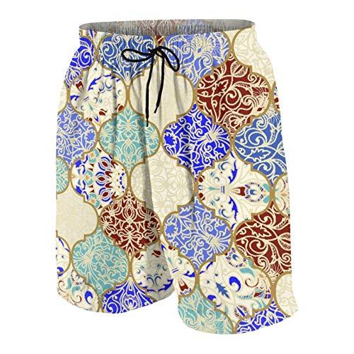 AMIGGOO Troncos de natación de los Hombres,Vin de Mosaico de Colores de cerámica Oriental Beige,Trajes de baño de Ropa de Playa Trajes de baño Shorts de baño Trajes de baño de Malla y Bolsillos