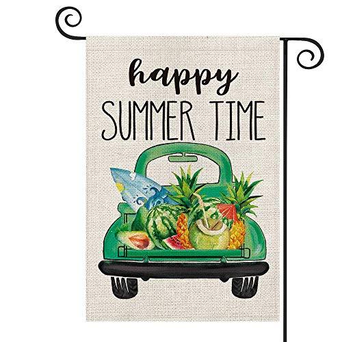 Glad sommartid trädgårdsflagga vertikal dubbelsidig, akvarell bil surfbräda vattenmelon ananas avokado högtid fest gård utomhusdekoration 47 x 32 cm