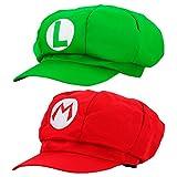 thematys Super Mario Mütze 2er Set Luigi + Mario - Kostüm-Set für Erwachsene & Kinder - perfekt...