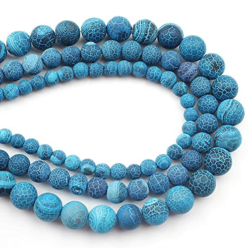 YELVQI Borla Beads de Piedra Natural Mate Apagado Polaco Agata Picasso Howlite Cubiertos de Cuarzo para la joyería Que Hace Bricolaje Pulsera Minerals Bead (Color : Blue Agate, Size : 10mm 36pcs)